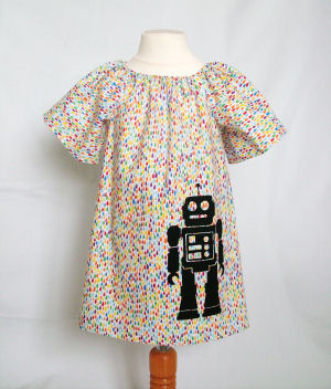 Handmade dress screenprinted with an original design by Little Squish