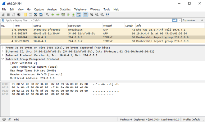 Wireshark Capture - Ostinato Drone (IGMP)
