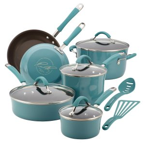 Rachael Ray 12-Piece Cucina Agave Blue Hard Enamel Cookware Set