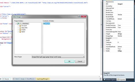 Browse to the image you want to place in your site and add the relevant information, Visual Studio will do the rest