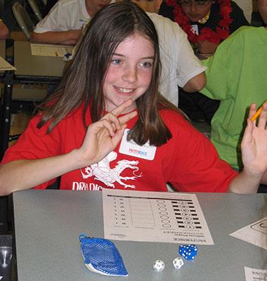Girl Plays Math Dice