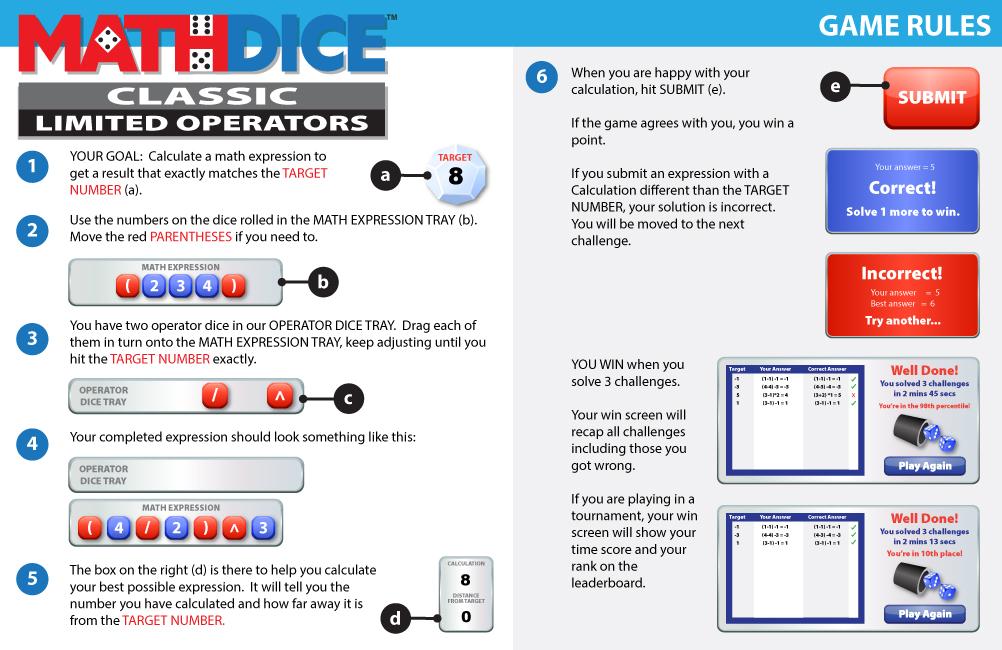 Math Dice Limited Operators Instructions