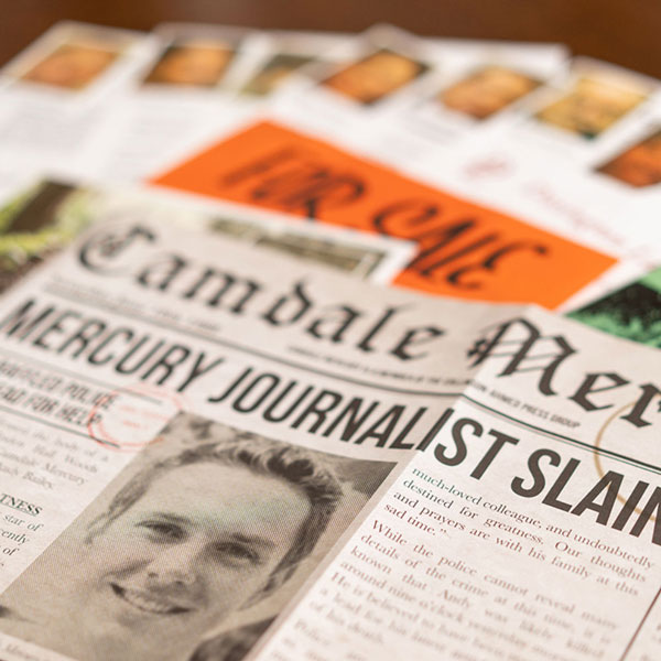 Decorative newspaper image from Cold Case: A Story To Die For