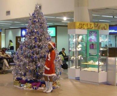 Guarding a Christmas shopping tree