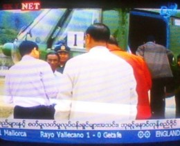 Government delegation arrives by helicopter