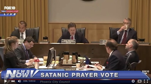 "Fox News 10 reports on a Feb. 3, 2016 vote on ""Satanic Prayer"" in Phoenix. YouTube"