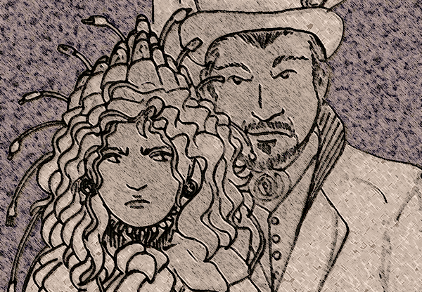 line art illustration - Jeremiah Willstone and the night dispatcher of the Secret Post