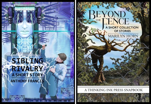 two book covers: Sibling Rivalry and Beyond the Fence