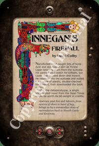 """front side of postcard """"Finnegan's Firewall"""""""