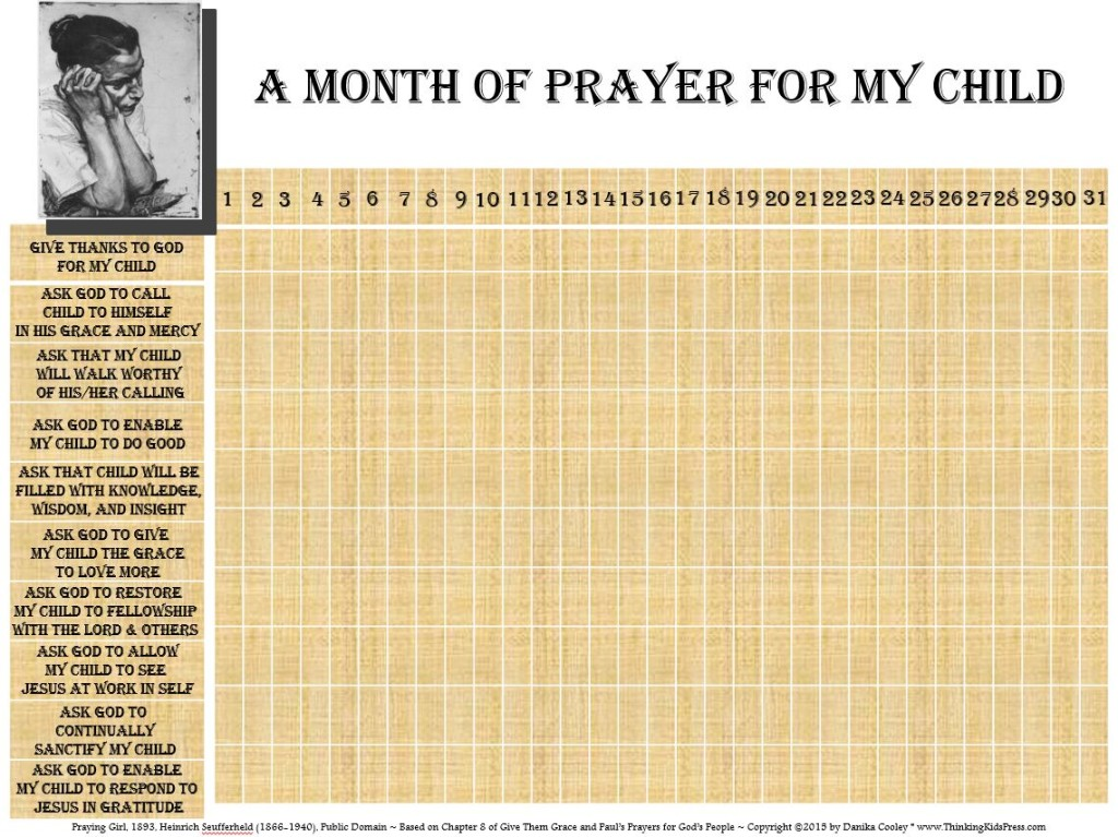 Join us for a month of prayer for your child/children! Free prayer calendar.