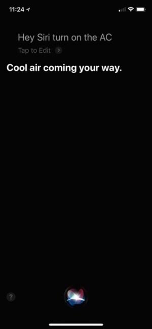 Siri, turn on the A/C screenshot (Homekit, Nest)
