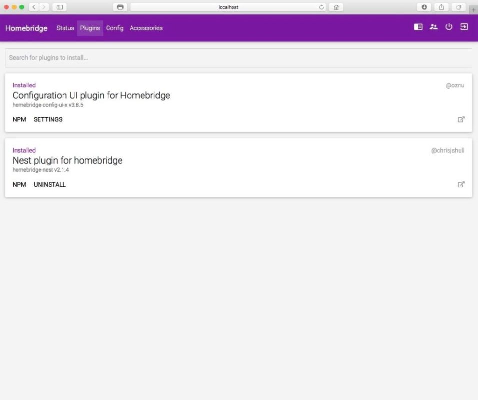 Plugins page screenshot (Homekit, Nest)