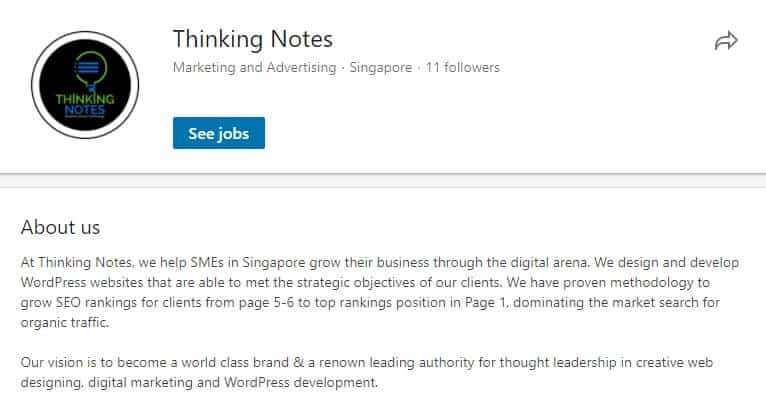Image showing Thinking Notes' official Linkedin page, to illustrate the usefulness of it for SEO.