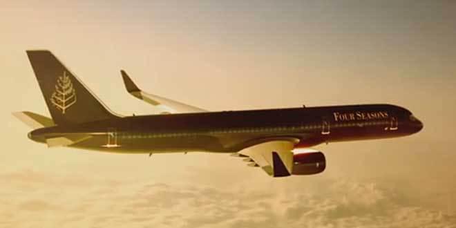 Four Seasons Boeing 757 in flight.