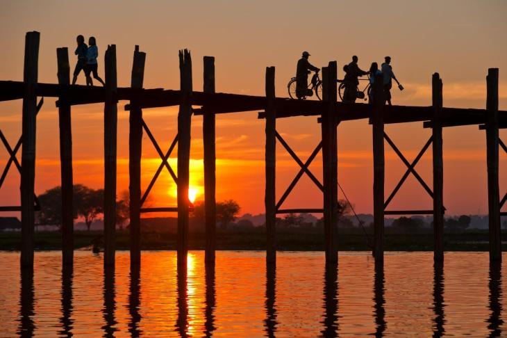 U Bain Bride in Mandalay, Myanmar, is the longest wooden brigde in the world.