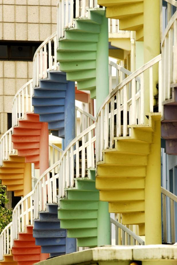 Stair cases in colourful Singapore!