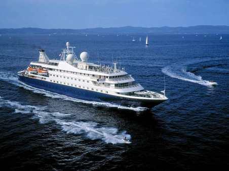 Aerial shot of Seadream yacht.