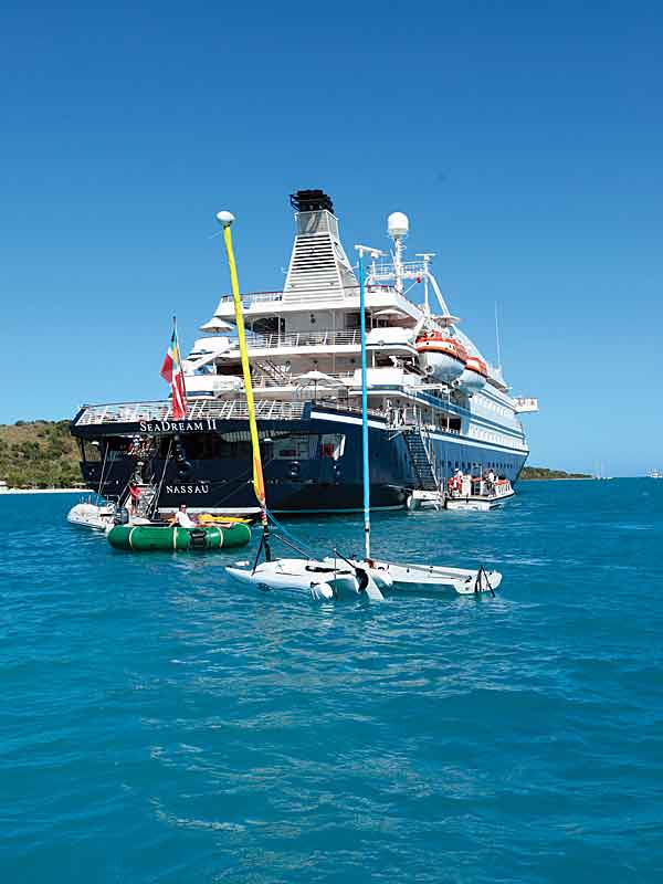 seadream marina with catamarans, dinghies and jet skis.