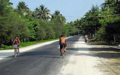 The main street in Ngapali Beach, Myanmar.