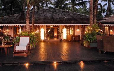 The restaurant at dusk at Sandoway Resort, Ngapali.