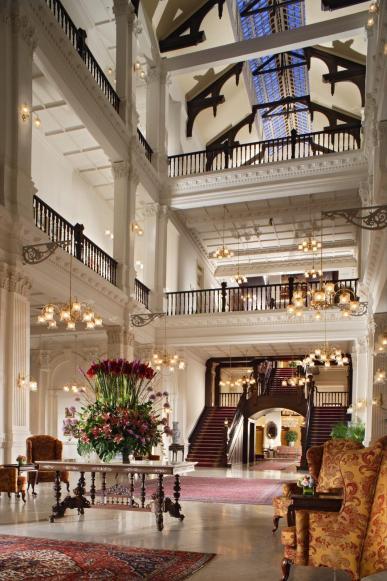 The lobby of Raffles Hotel, Singapore