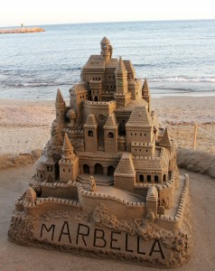 Sand castle in Marbella, Spain.
