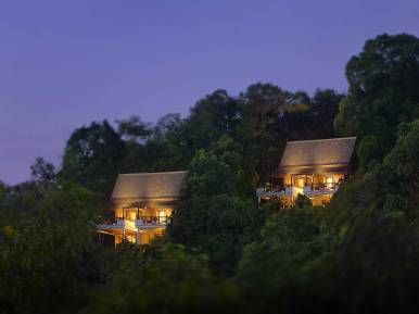Hill Villas at Pangkor Laut Resort, Malaysia at night.