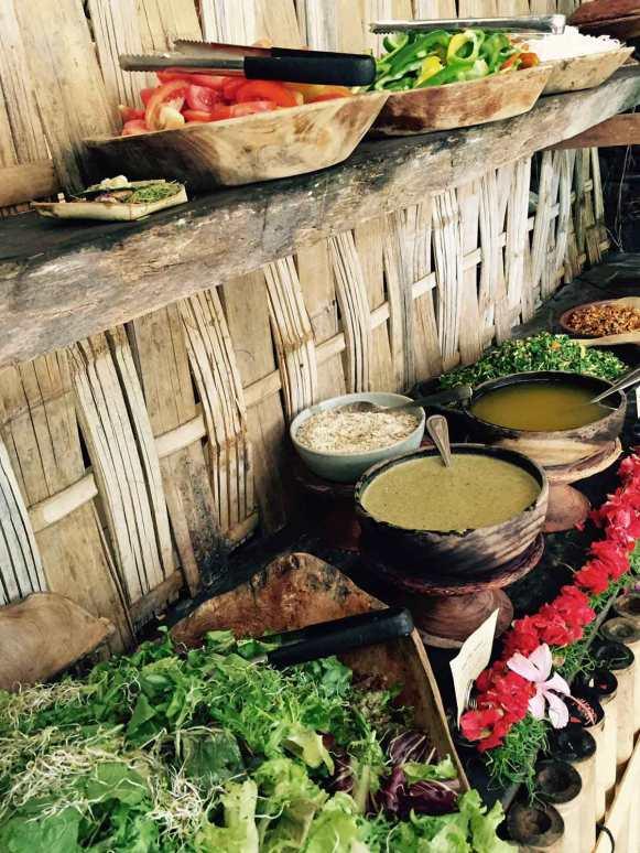 Vegetarian, organic buffet at The Yoga Barn in Ubud, Bali.