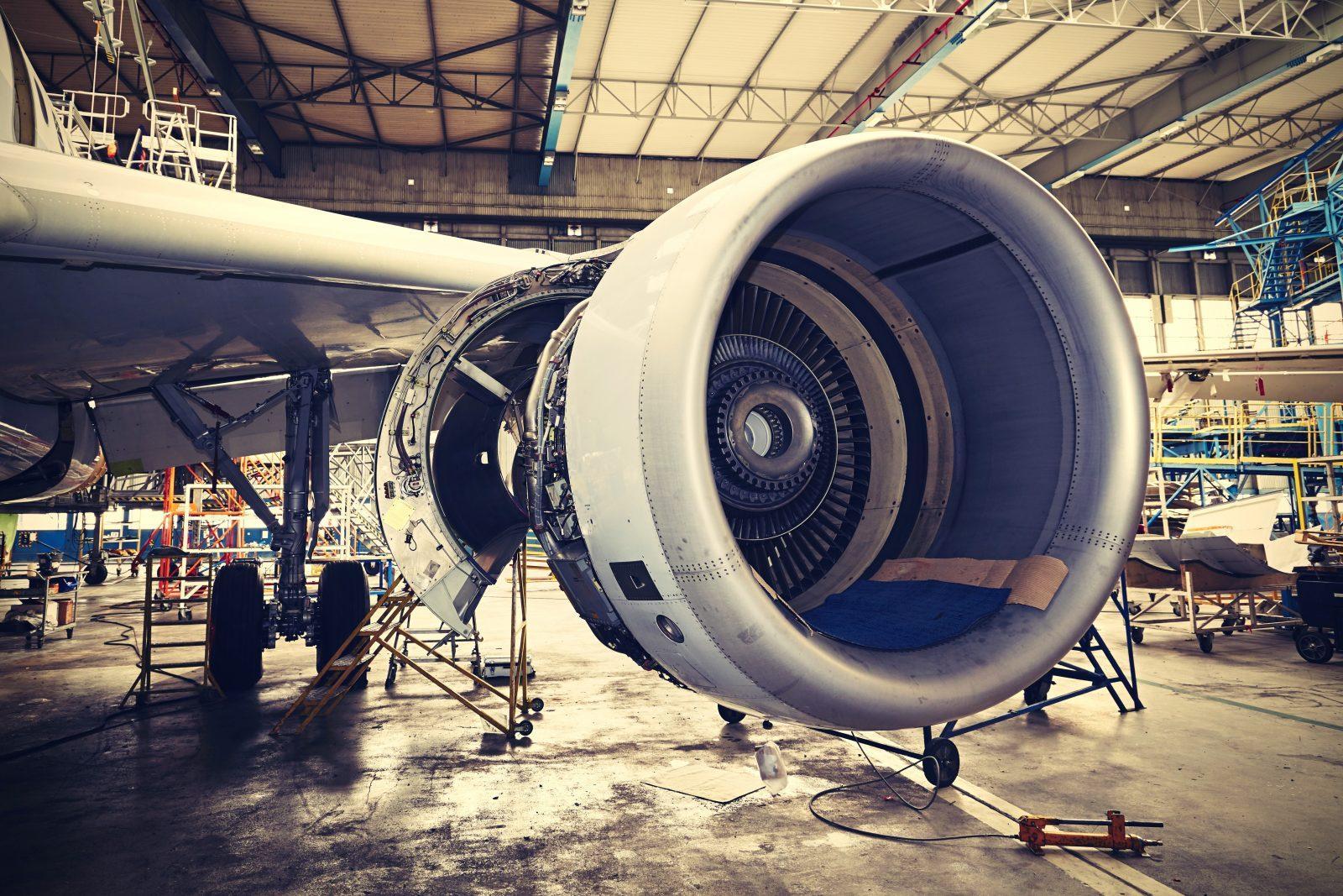 Engine of the airplane under heavy maintenance