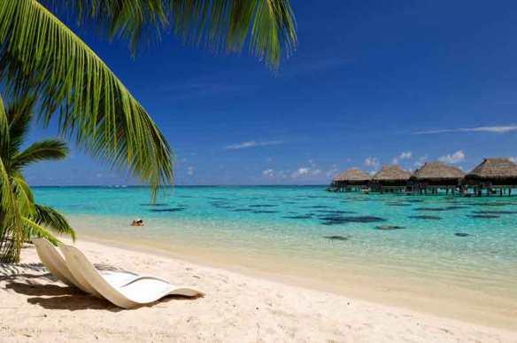 Beach on Moorea, French Polynesia.