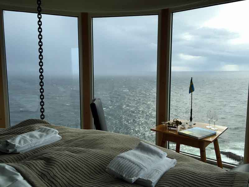 The hanging bed at Falknästet (The Falcon´s Nest) has a stunning view.