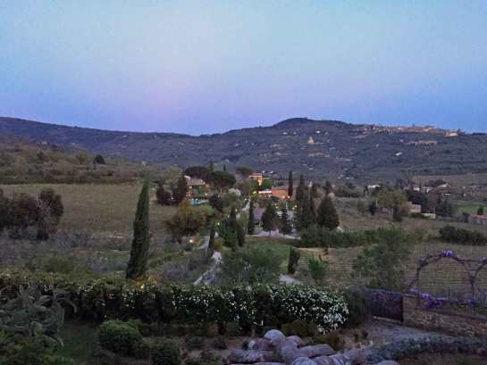 Il Falconiere seen from the winery at dusk