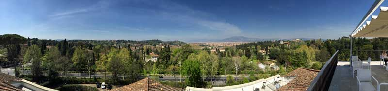 Panorama from Villa Cora roof top terrace.