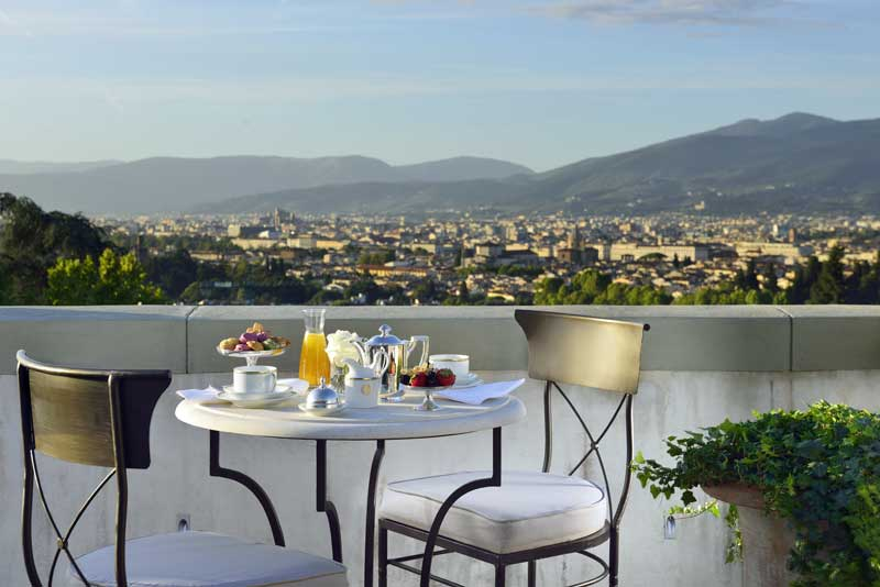 Roof top at Villa Cora set up for breakfast.