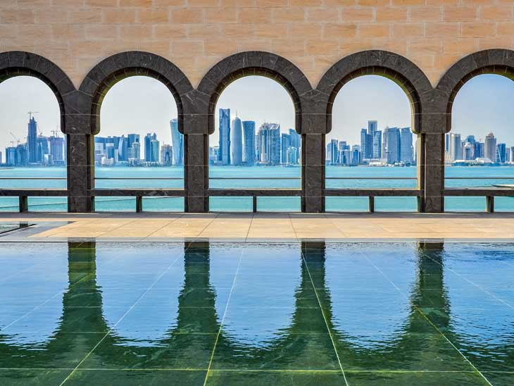 Doha skyline seen from Museum of Islamic Art.