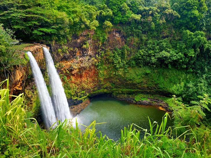 Twin Wailua waterfalls Kauai,