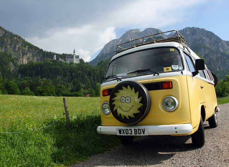 Old VW campervan in the mountains.