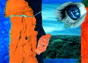 """If Sauron Had a Blue Eye Collage on watercolor paper 7"""" x 5"""" 2017"""