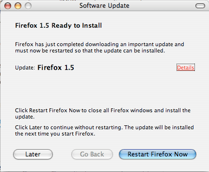 Firefox Software Update popup