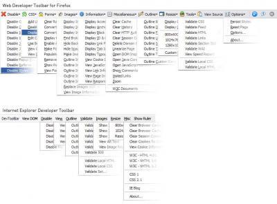 Web Developer Toolbar vs Developer Toolbar