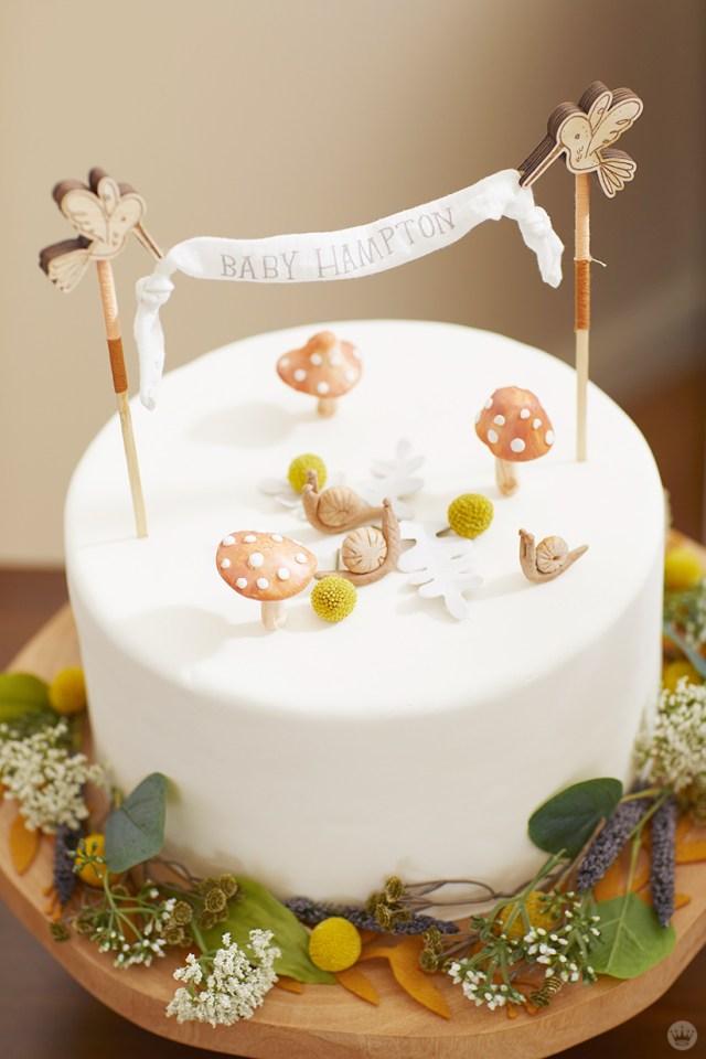 Decorated woodland-themed cake