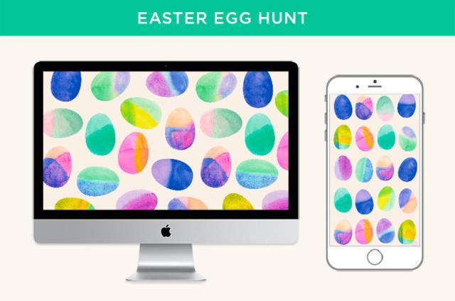 April 2020 digital wallpapers: Watercolor Easter egg pattern displayed on desktop screen and mobile device