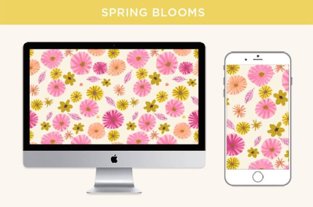 Multicolor floral design displayed on desktop screen and mobile device