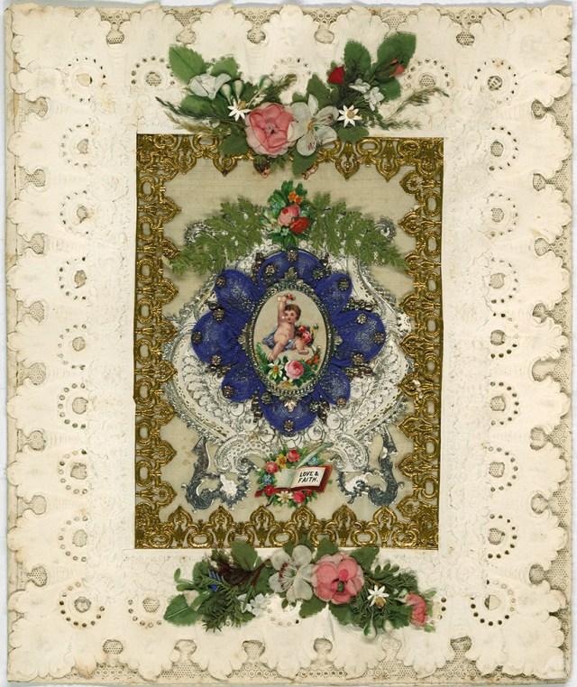 Original valentine designed by Esther Howland featuring classic cherub