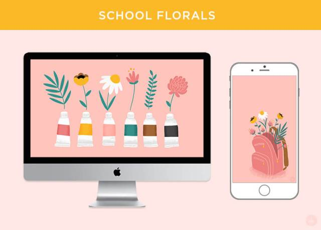 FREE AUGUST 2018 DIGITAL WALLPAPERS paint tubes backpack florals art