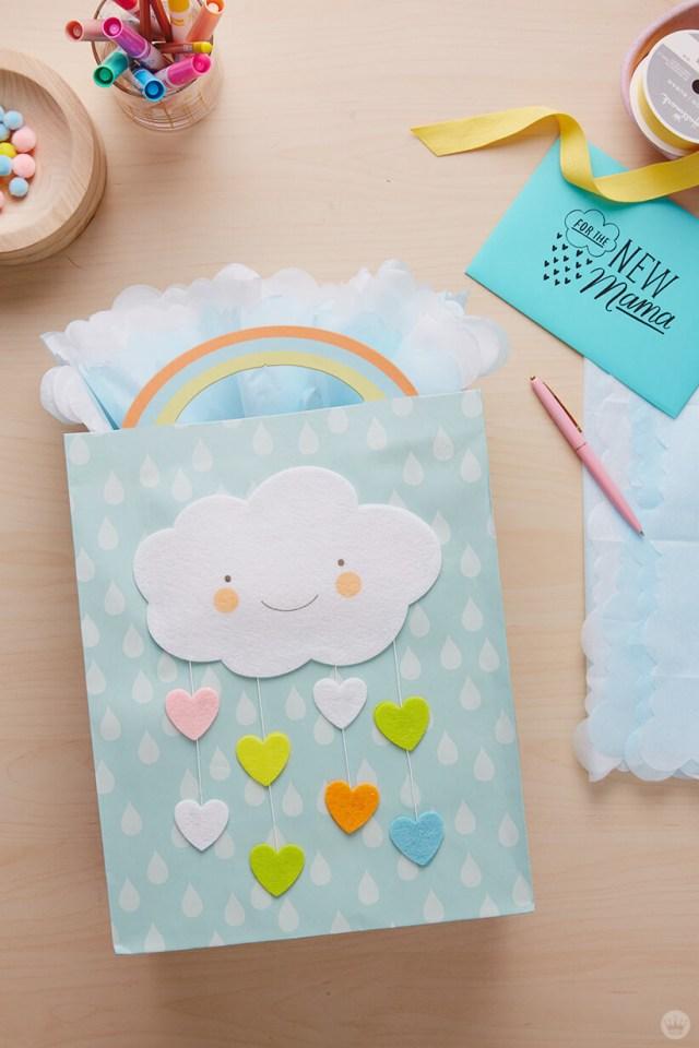 Dreamy baby gift wrap ideas: Fan-fold your tissue paper.