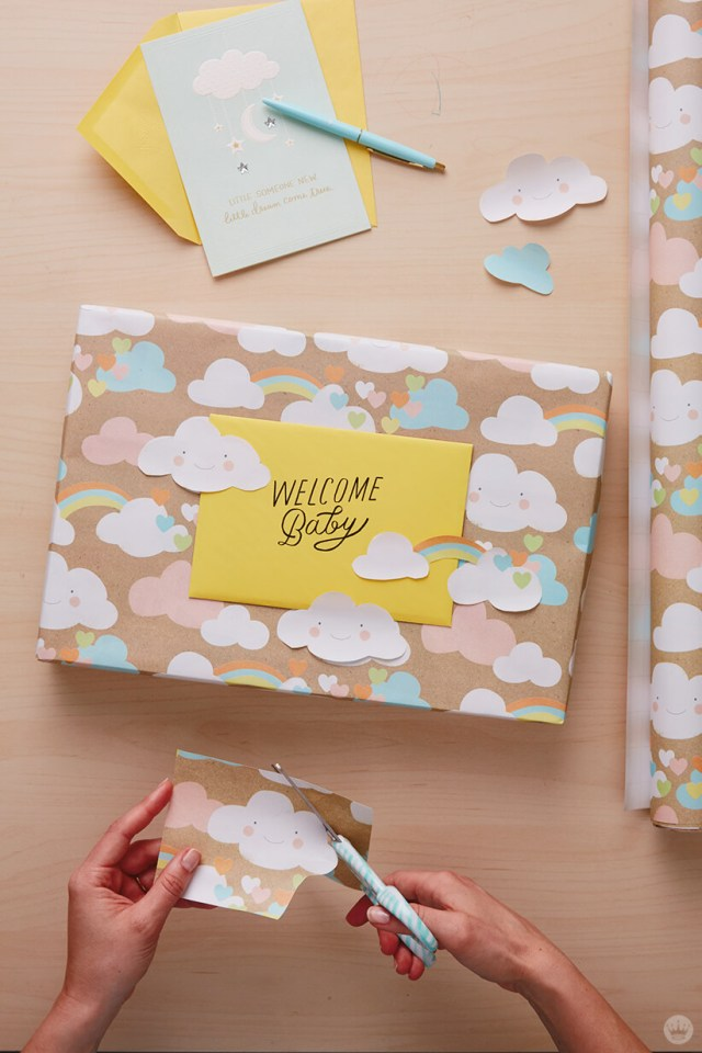 Easy And So Very Sweet Three Dreamy Baby Gift Wrap Ideas Think