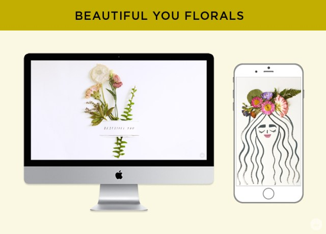 "Free digital wallpaper: Pressed flower art from Hallmark. ""Beautiful you"" floral designs for monitors and phones."
