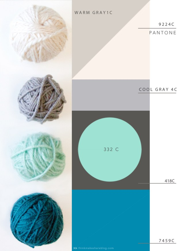 2015 spring color palettes: warm and cool grays, light turquise, and blue.