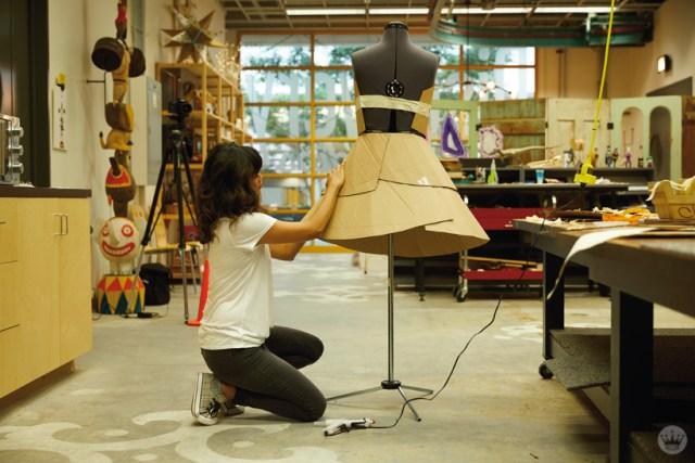 Hallmark artists explore cardboard Halloween costume ideas. Cardboard dress in progress.